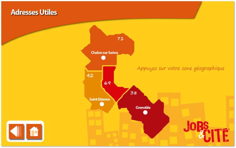 l'écran propose l'accès aux adresses utiles de Jobs et Cités