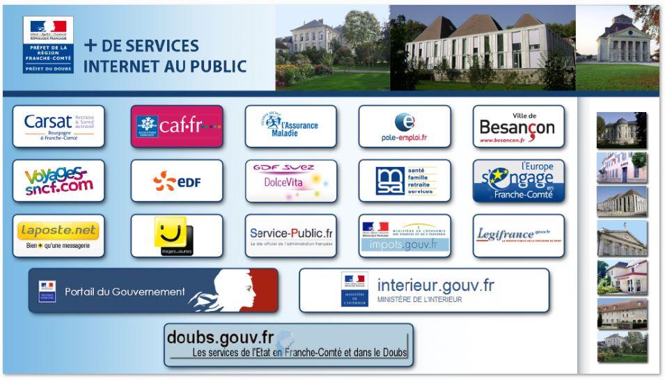 Ecran d'accès internet de la borne de la préfecture du Doubs.internet